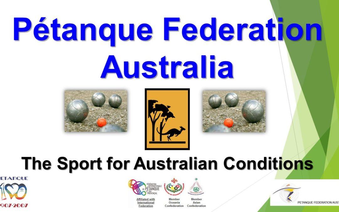 PFA 2018 – Pétanque Federation Australia